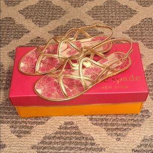 Used Kate Spade Gold Metallic Iris Sandals